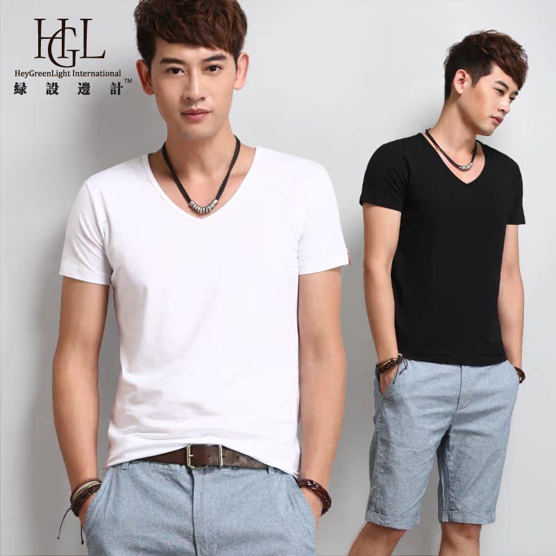 绿设边计 V领纯白色打底衫男士短袖T恤男装 修身紧身韩版黑色纯色 价格:49.90
