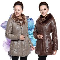 2013冬季爆款时尚中老年女装PU皮棉衣长款带毛领外套大码装妈妈 价格:169.00