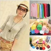 包邮2013韩版莫代尔修身纯色打底衫圆领糖果色长袖t恤女装 价格:25.50