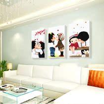 精准印花十字绣客厅卡通温馨系列新款亲亲宝贝十字绣三联画 价格:39.00