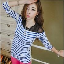 2013新品韩版条纹小衫肩部网纱性感女装修身打底衫条纹t恤女长袖 价格:29.90