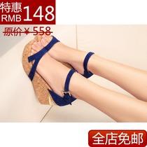 2013思加图新款厚底松糕跟真皮坡跟高跟防水台女鞋凉鞋特价包邮 价格:148.00
