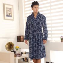 卡欧澜新款男士法兰绒睡袍 加大码珊瑚绒浴袍 秋冬加厚睡衣家居服 价格:105.00