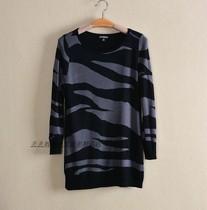 外贸原单express欧美品牌秋款棉加羊绒班马纹套头八分袖针织衫 价格:78.00