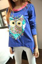 喵小姐 外贸原单纯棉高弹面料猫头鹰动物长袖T恤衫宽松显瘦女 价格:61.20