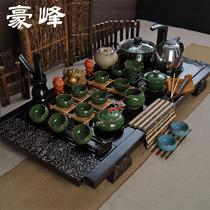 茶具套装特价陶瓷功夫茶具宜兴紫砂冰裂汝窑整套茶具实木茶盘套装 价格:388.00