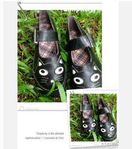 萌物卡通猫咪单鞋森女松糕鞋 秋新款厚底学院风复古鞋大头娃娃鞋 价格:74.90