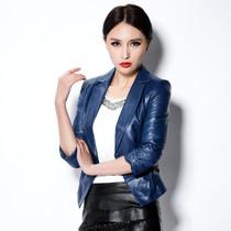 2013春装新款韩版女式修身短款小西装外套海宁绵羊皮真皮皮衣 价格:540.00
