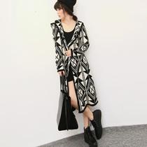 红人馆T805#欧美风范味几何图形针织衫超长款外套开衫女装秋冬潮 价格:169.00