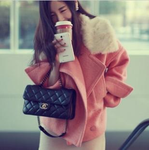 韩国代购新款2013冬装兔毛领修身收腰甜美翻领外套羊毛呢大衣 女 价格:219.00