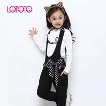 童装 女童秋款2013新款韩版中大女童公主套装 背带裤+打底衫 套装 价格:109.00
