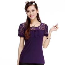 2013夏装新款韩版女装修身显瘦蕾丝短袖网纱t恤打底衫上衣F098 价格:45.00