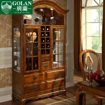 广兰家具 美式实木双门酒柜 现代 简约 欧式玻璃酒柜 特价RS537 价格:3150.00