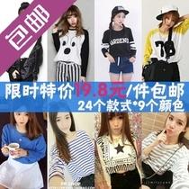 2013秋装韩版新款t恤女 字母卡通圆领宽松大码长袖打底衫 潮上衣 价格:19.80
