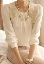 2013秋装宽松百搭雪纺衫上衣 韩版大码蕾丝衫高端长袖雪纺衫女 价格:55.00