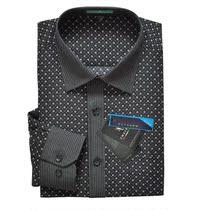 意大利啄木鸟新款男士长袖衬衫黑白印花商务休闲中老年爸爸装 价格:68.00