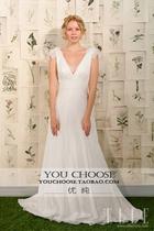 2013婚纱礼服高级定制深V领小拖尾冬款婚纱礼服新潮时尚欧式婚纱 价格:1280.00