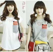 白色可爱短袖女t恤韩版姐妹装宽松夏装学生猫咪t��少女百搭短t潮 价格:19.00
