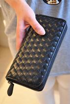 韩版钱包 女 情侣款大牌编织拉链长款女士钱包 皮夹 可做手拿包 价格:35.00