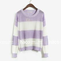 欧美复古 拼色大条纹 网状镂空 宽松蝙蝠袖 套头薄款毛衣 价格:55.99