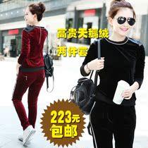 秋装新款 2013天鹅绒两件套显瘦运动套装 休闲套装金丝绒品牌女装 价格:223.20