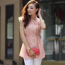 零五七一世家夏装新款韩版女装修身上衣V领大码中长款短袖雪纺衫 价格:89.00