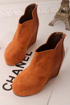 韩版秋冬女靴子坡跟后拉链短靴内增高厚底防水台圆头马丁靴女鞋 价格:89.00