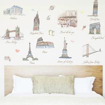 新品特价三代巴黎埃菲尔铁塔自由女神凯旋门比萨斜塔背景装饰墙贴 价格:13.00