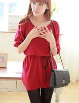 秋装2013女装新款韩版 甜美气质修身系带V领显瘦五分袖针织连衣裙 价格:49.60
