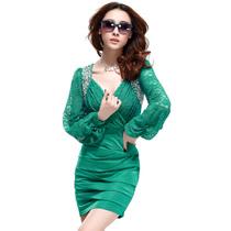 秋装 连衣裙 正品长袖v领钉珠褶皱打底裙 灯笼袖蕾丝大码 连衣裙 价格:165.00