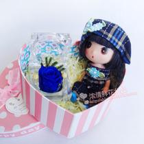 迷糊娃娃戒指盒保鲜花礼盒装蓝色妖姬玫瑰花情人节生日节日礼物 价格:39.00