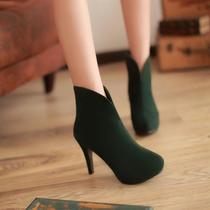 2双包邮 2013秋季欧美圆头高跟细跟短靴子40 41 42 43大码女鞋 价格:79.00