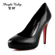 紫郁2013春季新款真皮欧美高跟单鞋防水台女鞋ol高跟鞋粗跟工作鞋 价格:129.00
