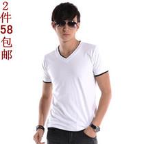 美特斯邦威版夏装新款休闲男士短袖T恤 V领假两件男装韩版上衣服 价格:40.00