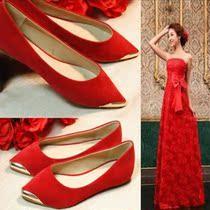 新款金属尖头红色婚鞋大码浅口单鞋平底绒面女子鞋新娘鞋小红鞋女 价格:88.00