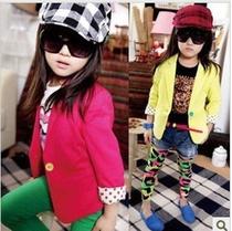 2013春秋款童装 女童糖果色垫肩修身小西装西服儿童外套 价格:27.93