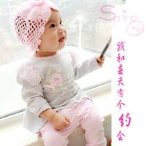 2013新款宝宝套装女宝三件套发带+上衣+裤子欧美风热荐童装套装 价格:58.00