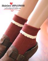 日系原单 森女森系复古翻边花边蕾丝全棉女袜子春秋短袜 10双包邮 价格:9.86