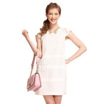 [促]歌莉娅goelia 2013夏季新款镂空绣花 短袖连衣裙135E4B290 价格:299.00