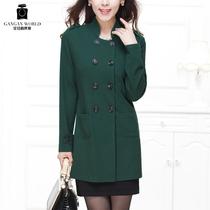 2013新款薄风衣女款 甘甘中长款军绿色外套女修身双排扣风衣1587 价格:288.00