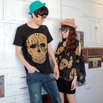 2013新款夏季情侣装夏装韩国版短袖圆领两件套t恤女裙雪纺打底衫 价格:79.00