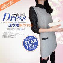 2013韩国代购秋装新款韩版气质女装显瘦PU皮大码长袖毛呢连衣裙女 价格:165.00
