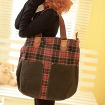 黑眼睛格子美韩版帆布包学院女单肩包大包包时尚休闲女包潮斜挎包 价格:78.89