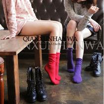 韩国袜子 纯棉线袜子糖果色堆堆袜 水果彩色纯色卷边女袜进口短袜 价格:9.72