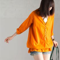 C1151A 宽松V领9分袖棉质套头长款衬衫2013秋女装米兰宣言-米可可 价格:159.00