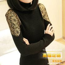 2013秋冬新款女装高领低领金边蕾丝袖修身打底衫中长款针织衫毛衣 价格:55.00