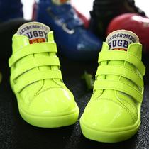 童鞋男童 2013秋新款魔术贴板鞋韩版高帮儿童亮皮鞋童靴潮X1092 价格:68.00