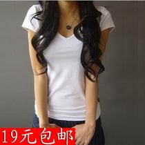 韩版女装 短袖t恤女V领 简约百搭修身小衫白色体恤纯棉打底衫 价格:19.00