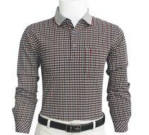 包邮正品啄木鸟 男款长袖T恤衫男士商务体恤男装纯棉格子口袋翻领 价格:118.00