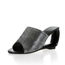 黑色凉鞋夏新款凉拖鞋真皮坡跟异型跟镂空跟高跟鞋鱼嘴亮片羊皮女 价格:198.00
